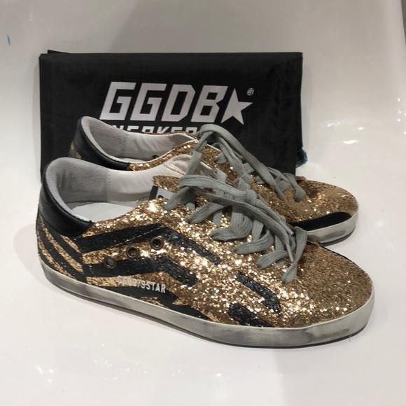 eb6e5fde88f2 Golden Goose Shoes | Nib Gold Glitter Flag Superstar 7 | Poshmark